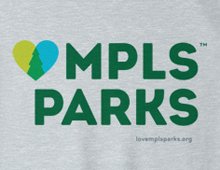 Detail of LoveMplsParks sweatshirt in heather grey