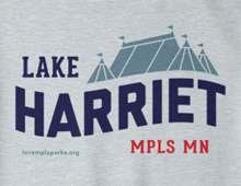 Detail of Lake Harriet sweatshirt in heather grey