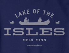Detail of Lake of the Isles sweatshirt in navy