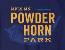 Detail of Powderhorn Park sweatshirt in navy