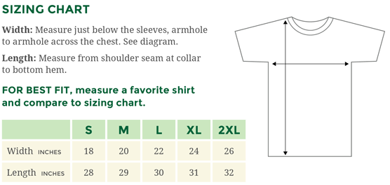 Sizing chart for Gildan men's t-shirts