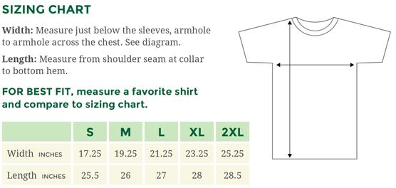 Sizing chart for Gildan women's t-shirts