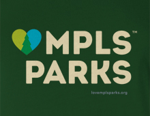 Detail of LoveMplsParks t-shirt