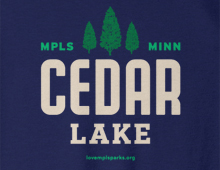 Detail of Cedar Lake sweatshirt in navy
