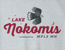Detail of Lake Nokomis sweatshirt in heather grey