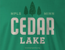 Detail of Cedar Lake t-shirt in kelly green