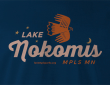 Detail of Lake Nokomis T-Shirt in navy