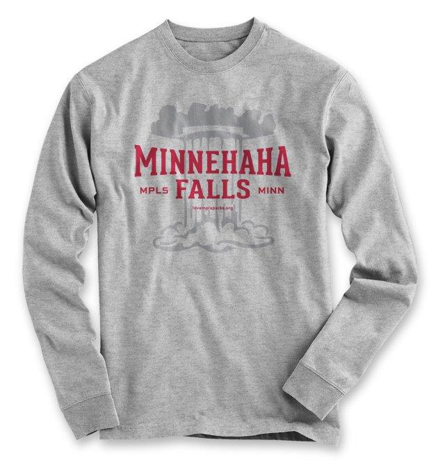 Minnehaha Falls Long Sleeve T-Shirt in Ash Grey