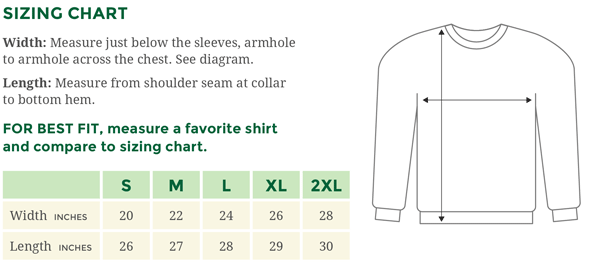 Sizing chart and directions for measuring to get a sweatshirt that fits