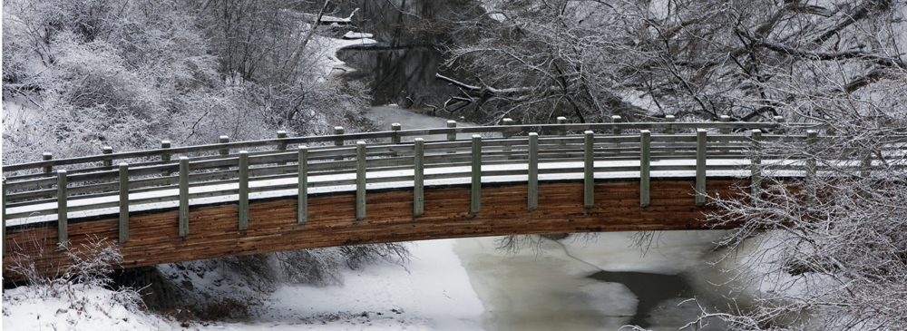 Minnehaha Creek Bridge on a snowy day