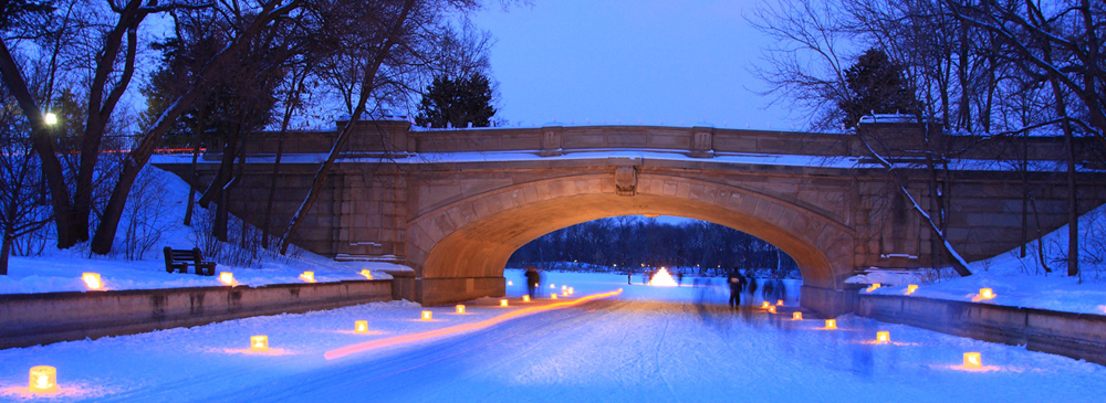 Lake of the Isles bridge with candle luminaria for the Minneapolis twlight loppet ski race