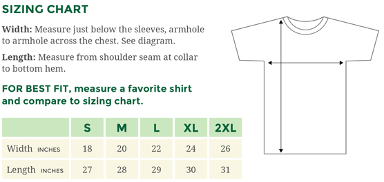 Sizing Chart for Anvil Men's T-Shirts