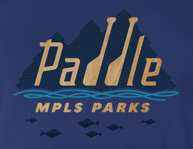 Detail of Paddle MPLS Parks women's t-shirt