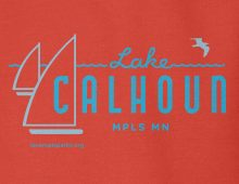 Detail of red Lake Calhoun hooded sweatshirt graphic