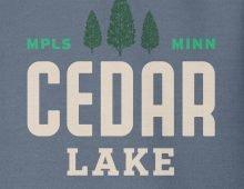 Detail of indigo Cedar Lake hooded sweatshirt graphic
