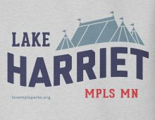 Detail of heather grey Lake Harriet hooded sweatshirt graphic