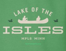 Detail of green Lake of the Isles hooded sweatshirt graphic