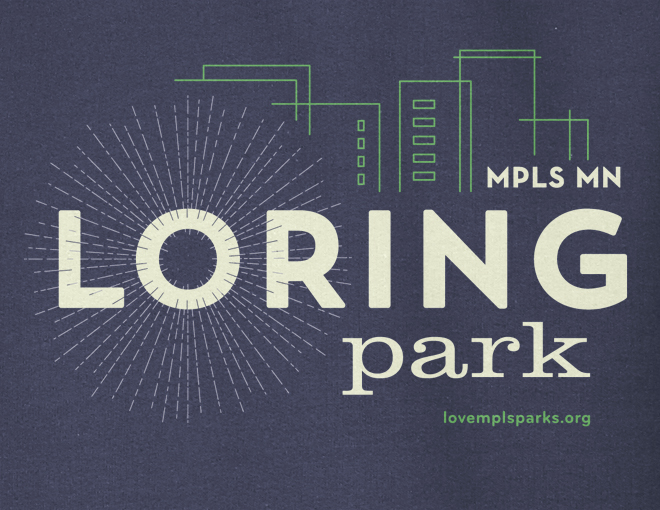 Detail of navy Loring Park hooded sweatshirt graphic