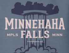 Detail of indigo Minnehaha Falls hooded sweatshirt graphic