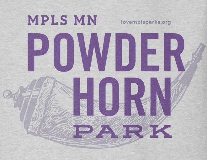 Detail of heather grey Powderhorn Park hooded sweatshirt graphic