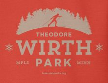 Detail of red Wirth Park hooded sweatshirt graphic