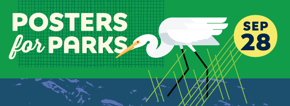 Illustration of a Great White Egret wading in water for Posters for Parks poster show on September 28, 2017