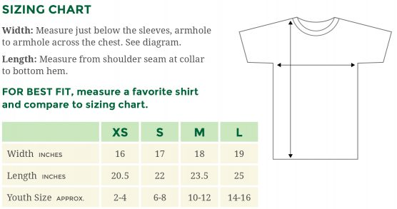 Sizing chart for Gildan Ultra Cotton 2000B youth t-shirts