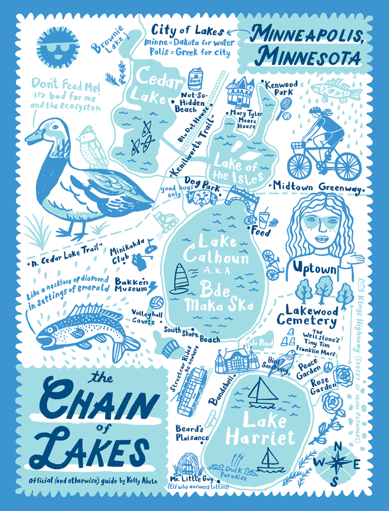 Chain of Lakes Map poster by Kelly Abeln