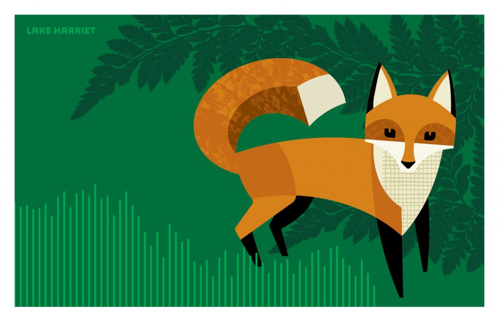 Illustration of Red Fox from Fantastic Beasts set of postacrds