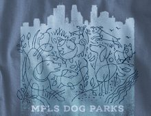 Detail of MPLS Dog Park design on indigo blue long-sleeve t-shirt
