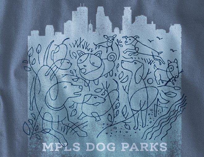 Detail of MPLS Dog Park design on indigo blue long-sleeve t-shirt