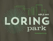 Detail of Loring Park design on military green long-sleeve t-shirt