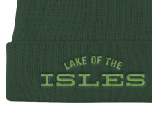 Detail of forest green Lake of the Isles embroidered knit cap with light green letters