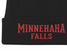 Detail of Minnehaha Falls embroidered knit cap - black cap with red letters