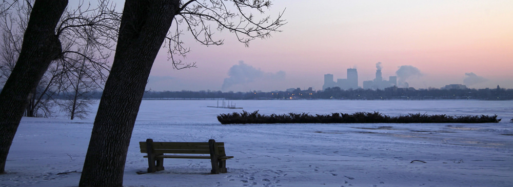 Winter view of downtown Minneapolis from Lake Calhoun
