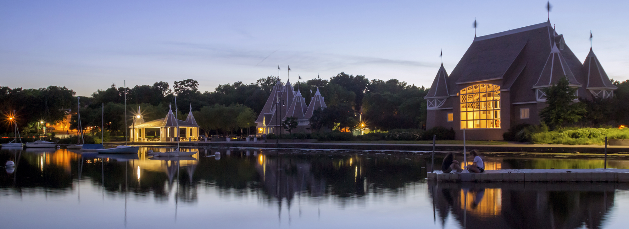 Photo of Lake Harriet Bandshell reflected in the lake at dusk - photo by Same Wagner: https://www.flickr.com/photos/samwagnerphotography/