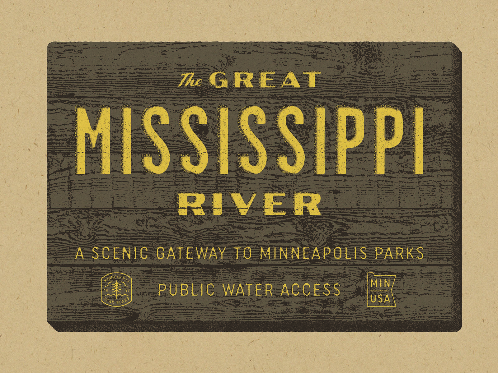 Great River Sign poster by Ian Kolstad