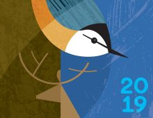 detail of colorful poster with nuthatch and reindeer – leave it better than you found it