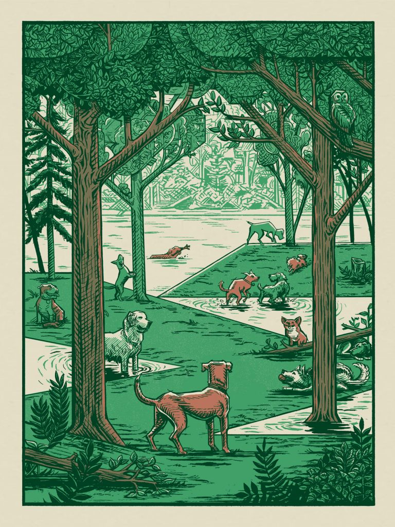 Dog Park Oasis poster by Michael Iver Jacobsen