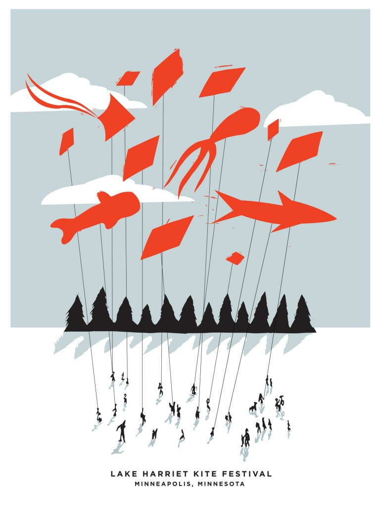 Lake Harriet Kite Festival poster by Emma Johnson