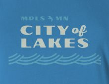 City of Lakes women's t-shirt design detail