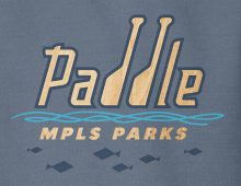 Paddle MPLS Parks hooded sweatshirt design detail in indigo blue