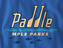 Paddle MPLS Parks long-sleeve t-shirt design detail in royal blue