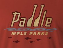 Paddle MPLS Parks men's t-shirt design detail in red