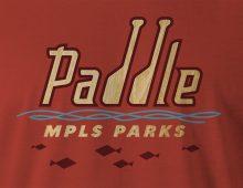 Paddle MPLS Parks men's t-shirt design detail in red