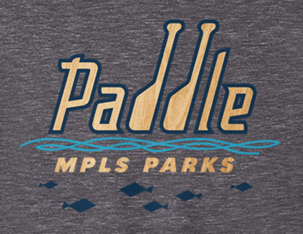 Paddle MPLS Parks sweatshirt design detail in dark heather grey