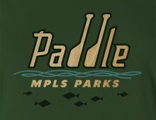 Paddle MPLS Parks women's t-shirt design detail in forest green