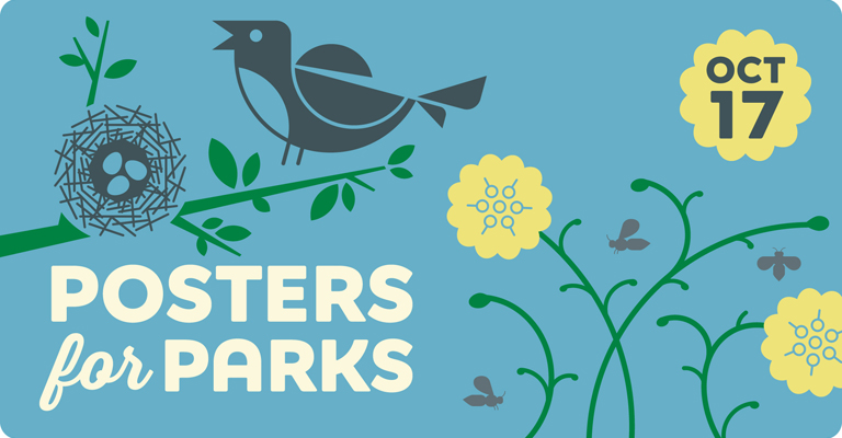 Posters for Parks 2020 – save the date – October 17, 2020 – bird with nest, flowers with bees