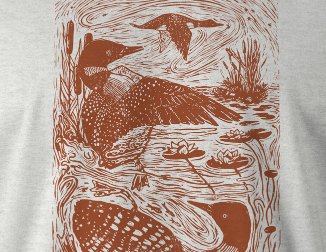 Detail of Great Northern Diver shirt design by Theresa Ptak