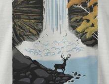 Detail of Minnehaha Falls shirt design by Lucas Richards
